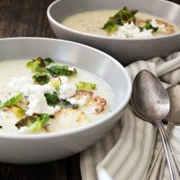 Cauliflower and Potato Soup with Goat Cheese