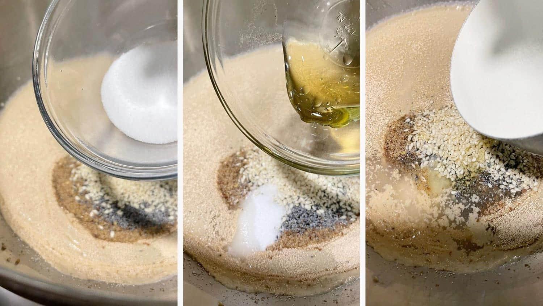 photo collage of steps to make multigrain bread 2