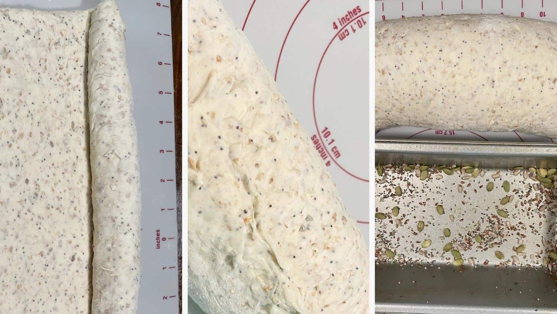 photo collage of steps to make multigrain bread 6