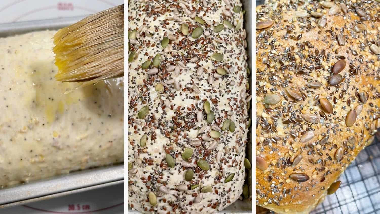 photo collage of steps to make multigrain bread 8