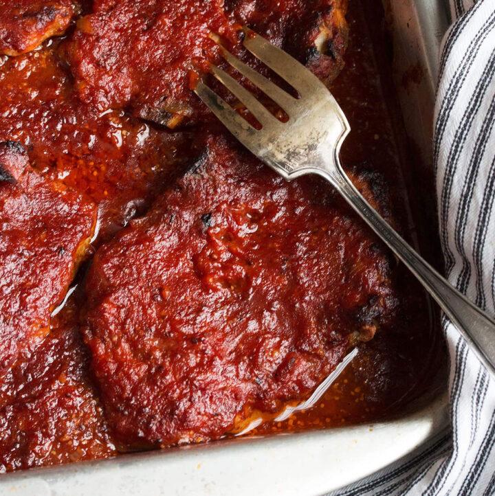 St. Louis style BBQ pork chops in baking pan