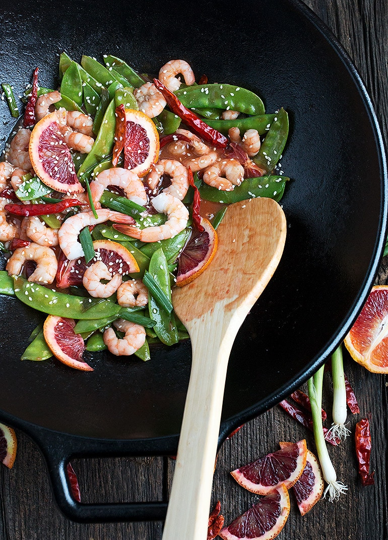 Spicy Shrimp and Snow Pea Stir Fry with Blood Orange Sauce