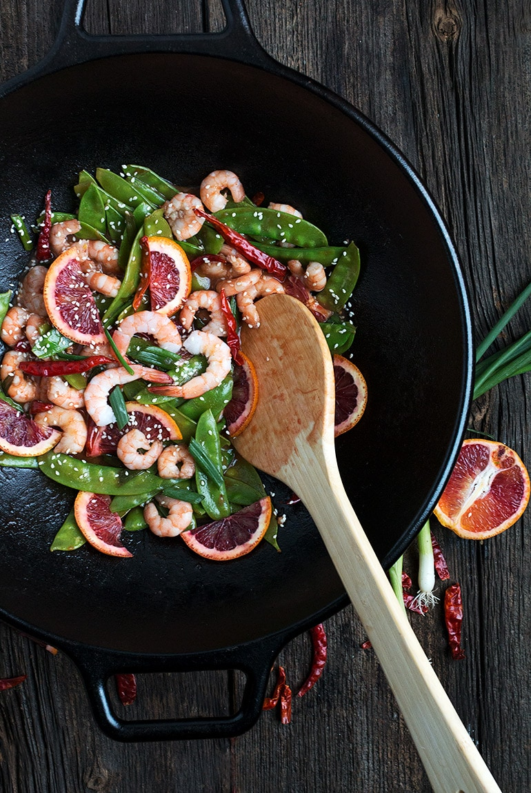 Spicy Shrimp and Snow Pea Stir Fry with Blood Orange Sacue