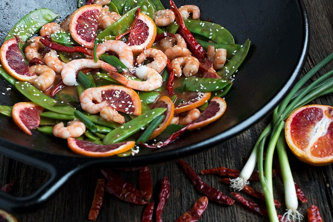 Blood Orange Shrimp and Pea Pod Stir Fry