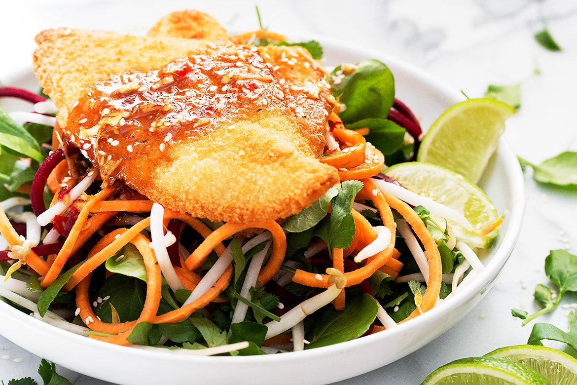 Thai Inspired Panko Sole and Salad