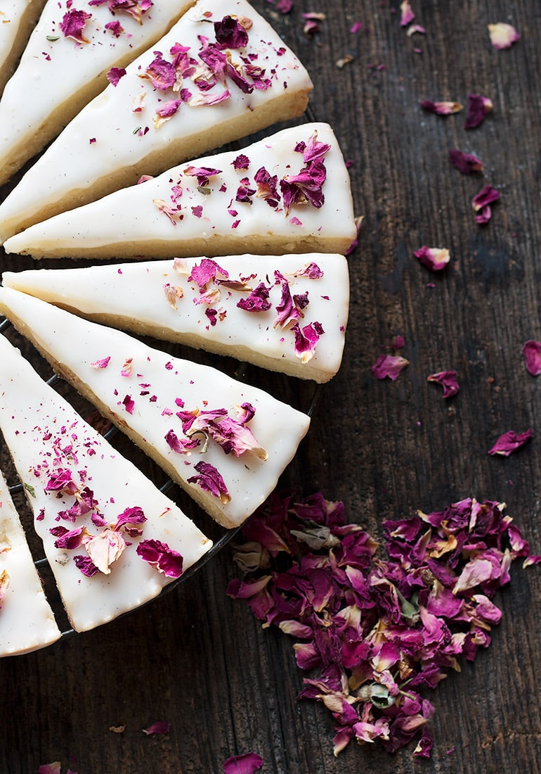 Vanilla Rose Shortbread Cookies