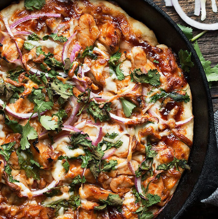 bbq chicken skillet pizza in cast iron skillet