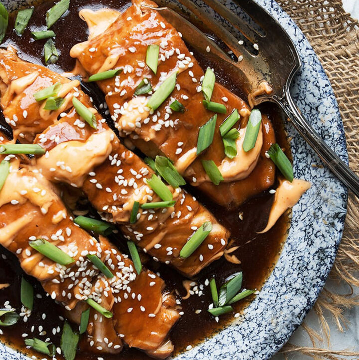 instant pot teriyaki salmon with chipotle mayo on platter