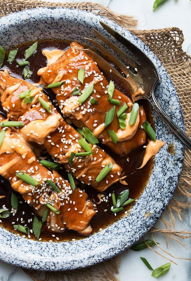 Instant Pot Teriyaki Salmon with Sriracha Mayo (plus oven version!)
