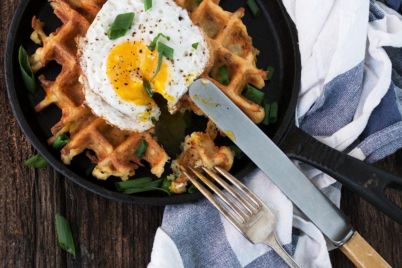 Loaded Baked Potato Waffles with a Crispy Egg