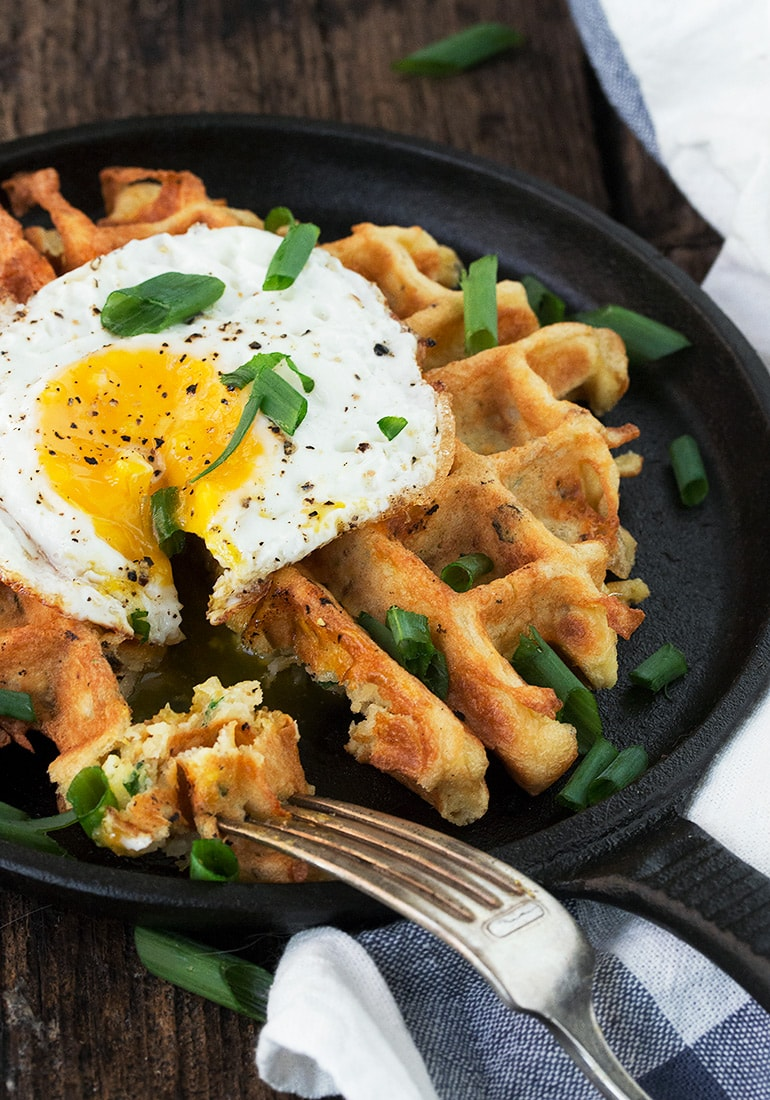 Loaded Potato Waffles with a Crispy Fried Egg