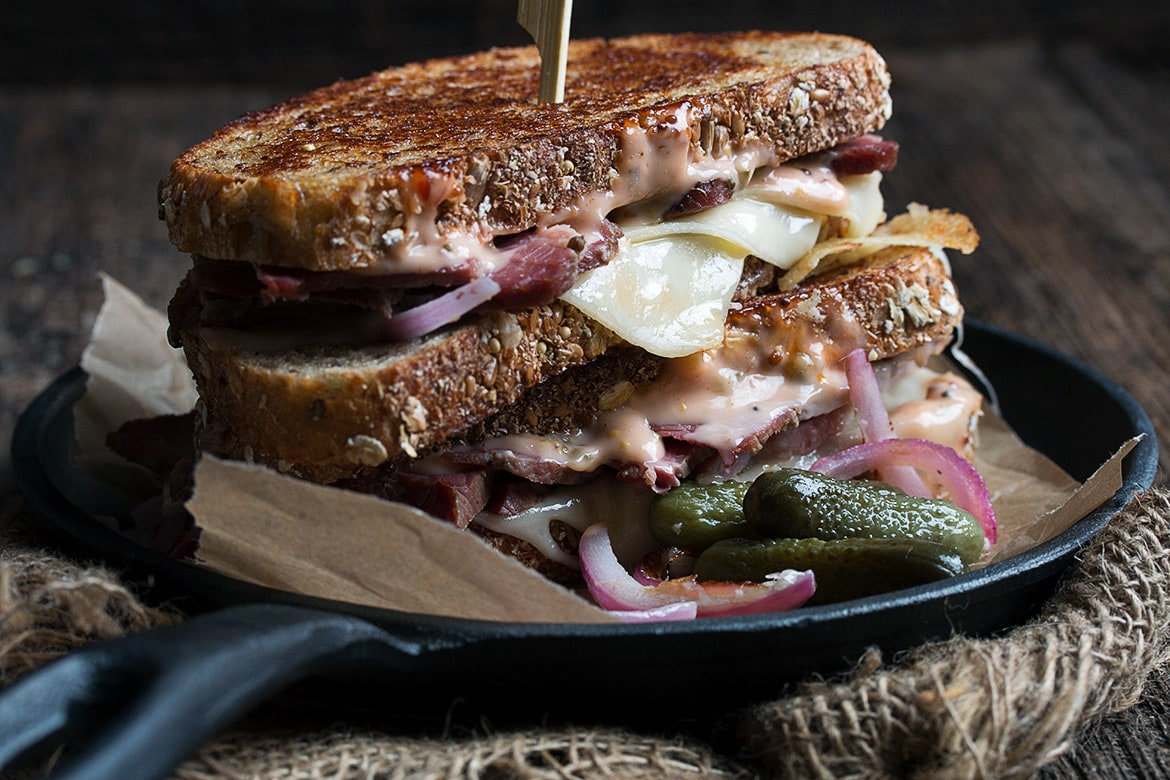 reuben sandwich on skillet