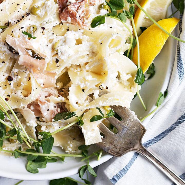 lemon ricotta pasta with prosciutto