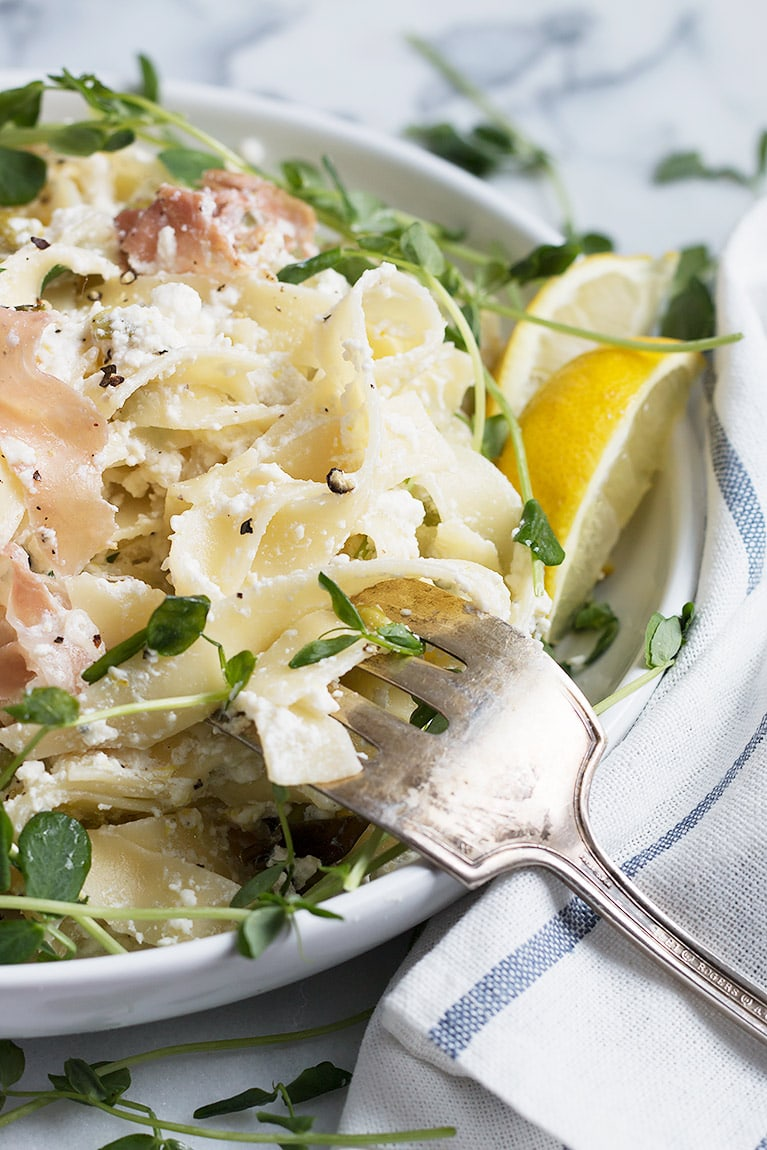 Lemon Ricotta Pasta with Prosciutto and Pea Shoots