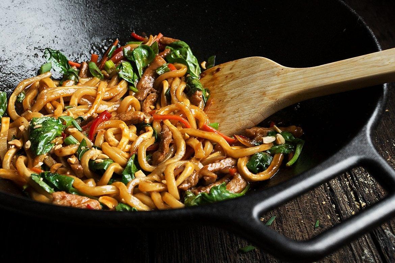 Spicy Pork Udon Noodle Stir Fry