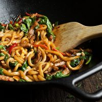 Spicy Pork Udon Noodle Stir Fry