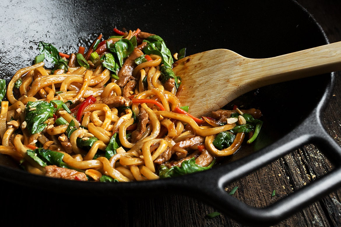 20 Minute Spicy Pork Udon Stir Fry Seasons And Suppers