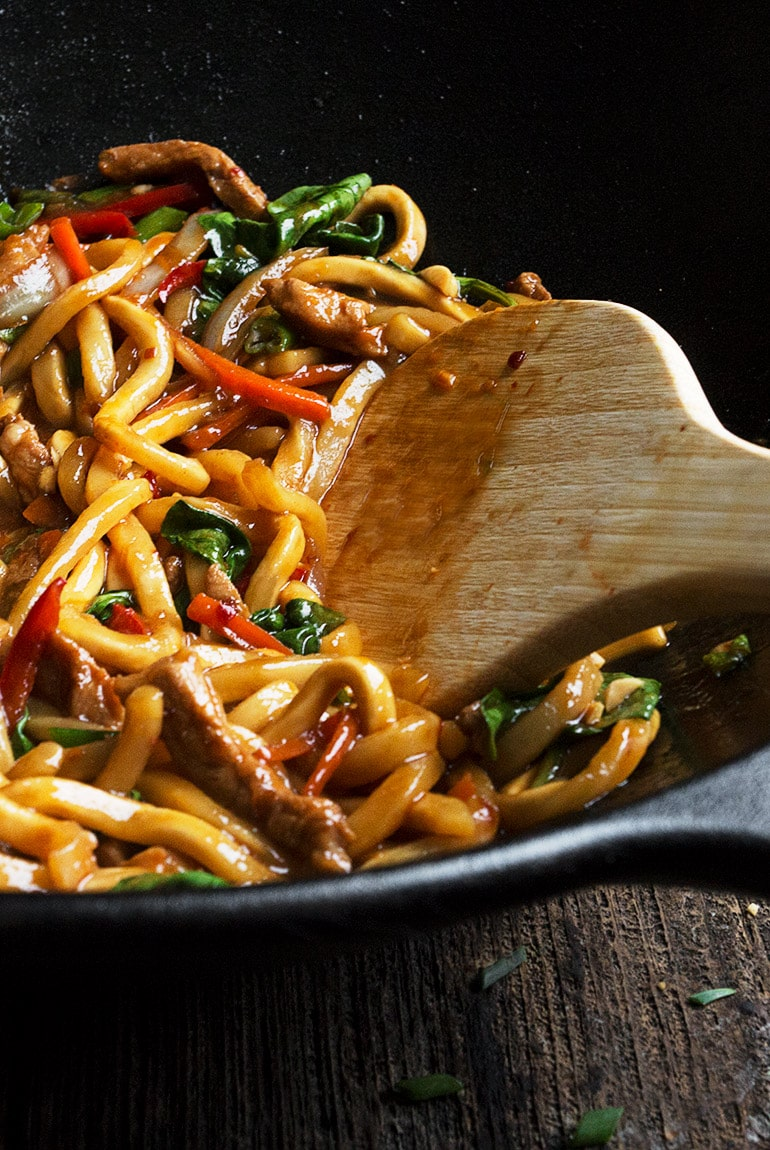 20 Minute Spicy Pork Udon Stir Fry - Seasons and Suppers