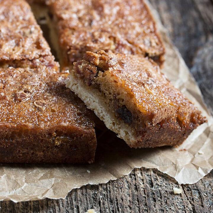 maple bacon squares cut on parchment