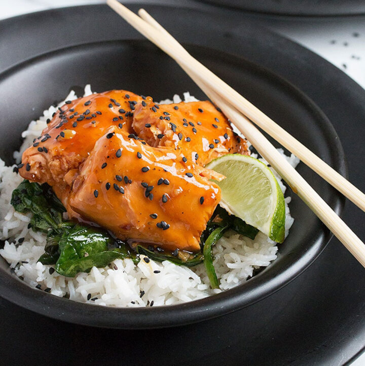 maple soy glazed salmon with rice in bowl