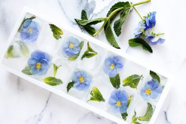 Pansy and Mint Ice Cubes
