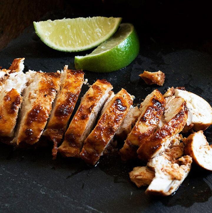 chili lime chicken on cutting board