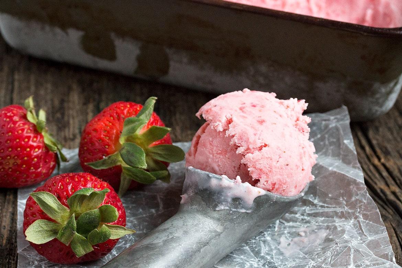 No Churn Creme Fraiche Strawberry Ice Cream