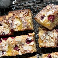 peach raspberry almond cake, on cooling rack