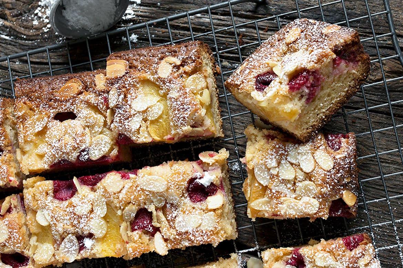 peach raspberry almond cake, on cooling rack