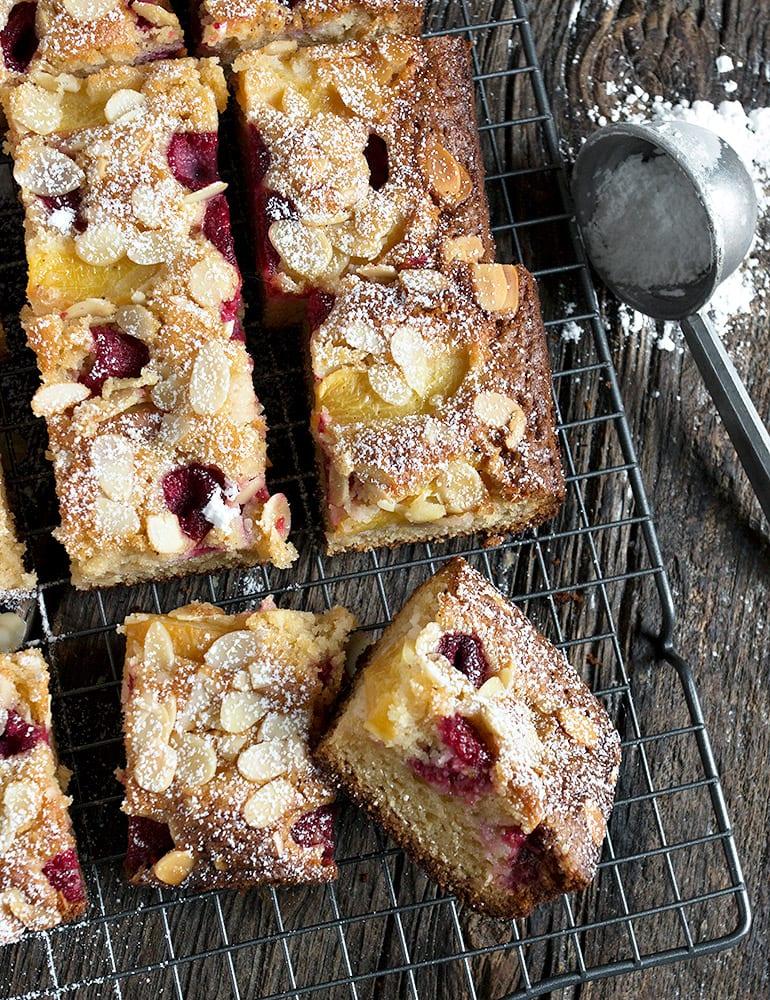 Peach Raspberry Almond Cake
