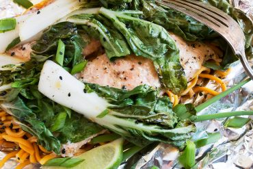 Salmon, Bok Choy and Noodle Foil Packets