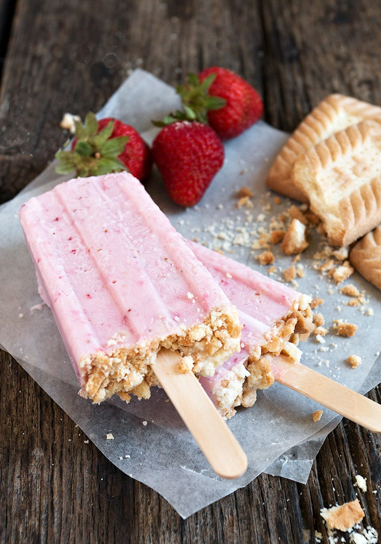Strawberry Shortcake Yogurt Popsicles
