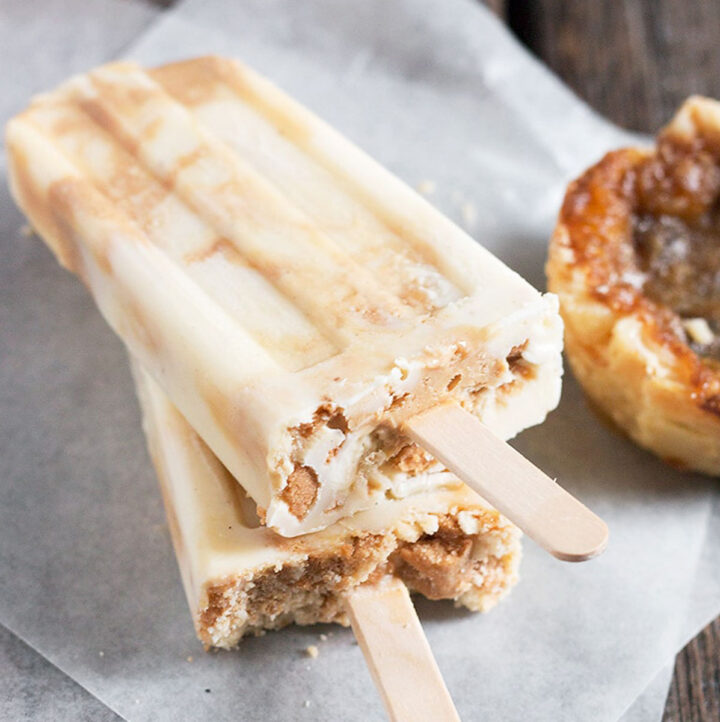 butter tart popsicles on parchment