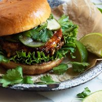 Teriyaki Salmon Burgers with Pickled Cucumbers