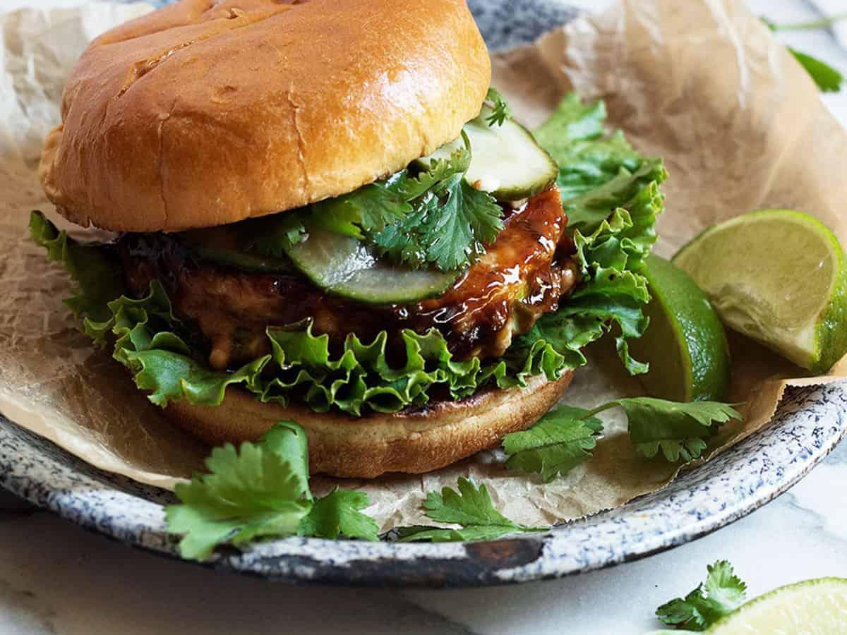 teriyaki salmon burger on plate