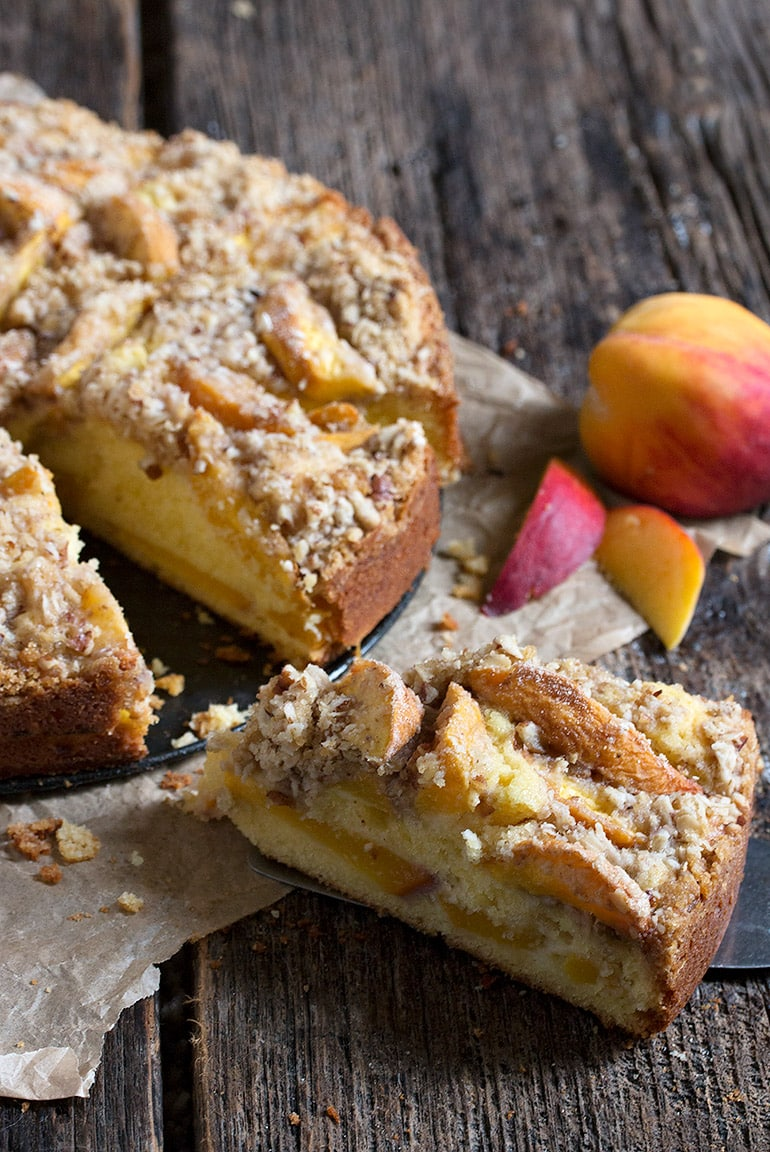 Peach Crisp Buttermilk Cake