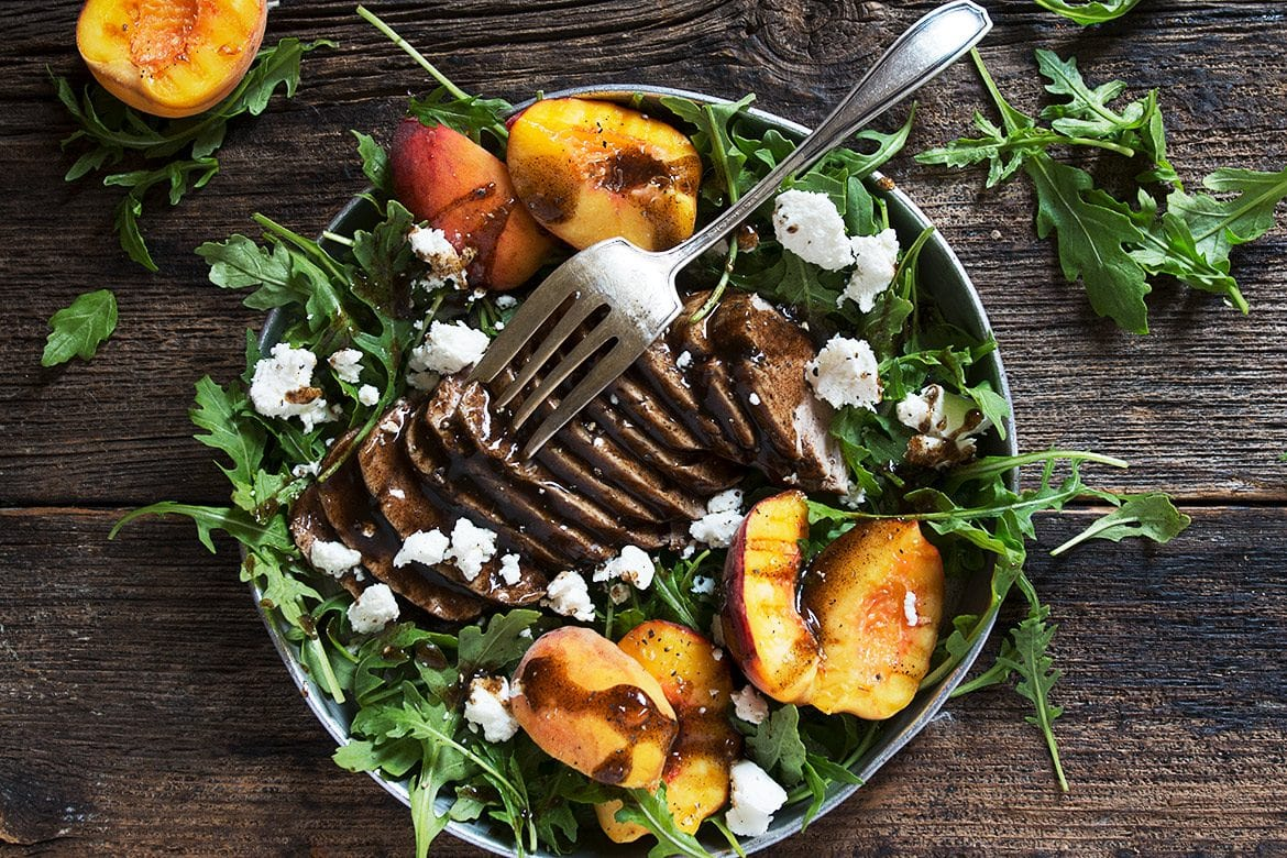 Balsamic Pork Tenderloin and Peach Salad