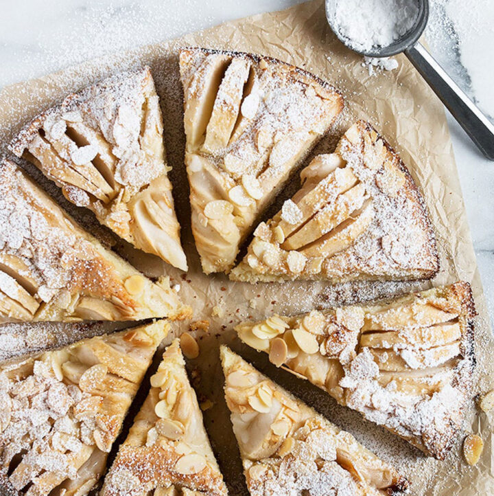 apple almond cake on parchment sliced