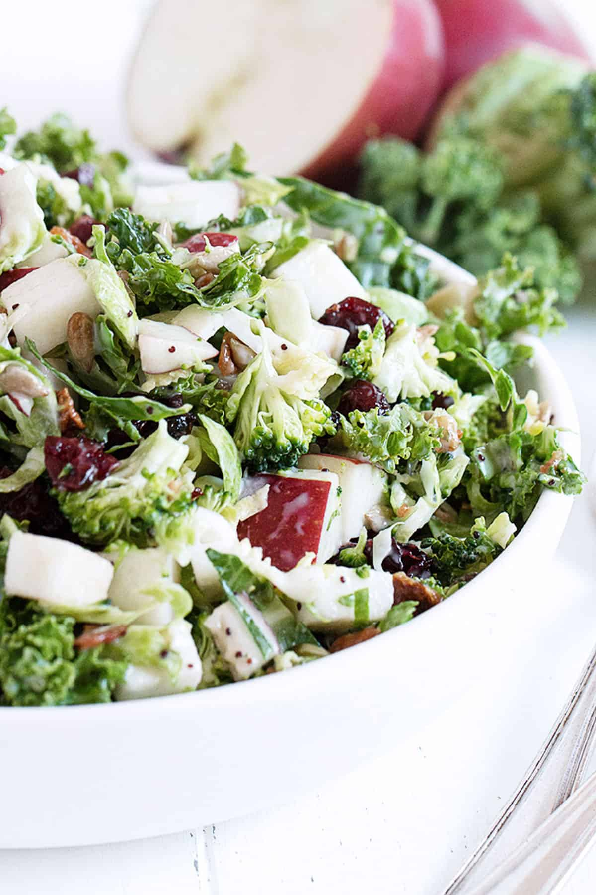 Fall kale salad with apple in white bowl