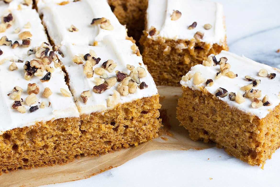 Pumpkin Sheet Cake with Cream Cheese Frosting