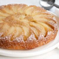 upside-down maple apple cake on white plate