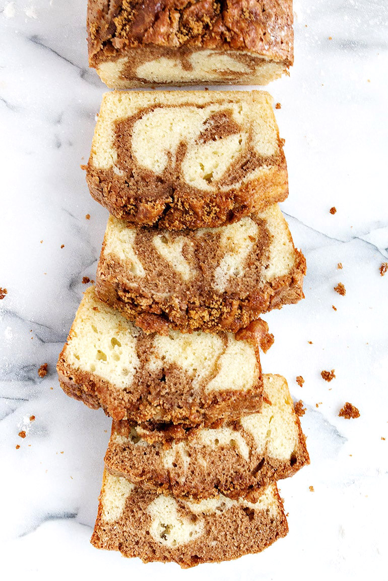 cinnamon swirl loaf sliced on marble