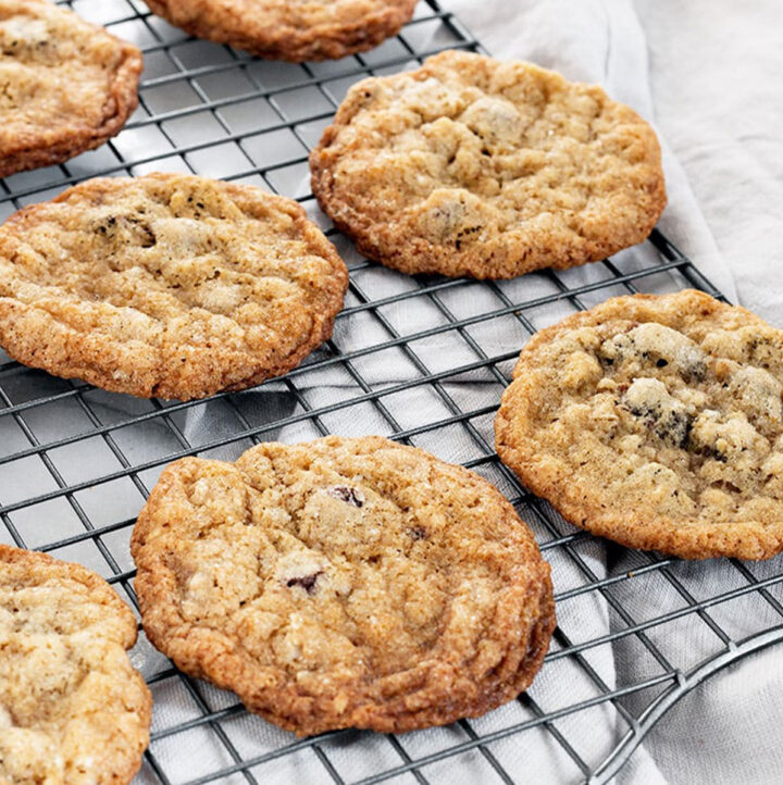 oatmeal chocolate chip cookies on cooling rack