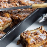 pumpkin coffee cake in pan