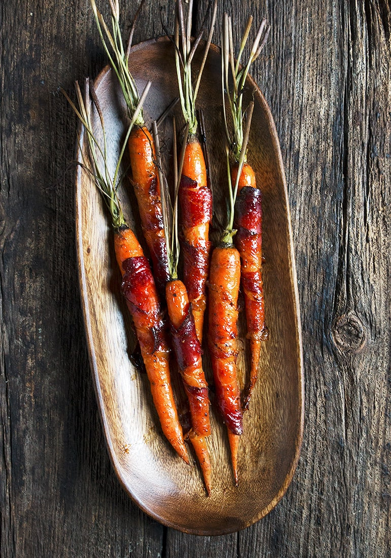 Maple Glazed Speck Wrapped Carrots