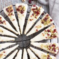 cranberry pistachio shortbread cookies on cooling rack