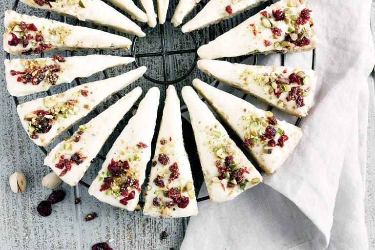 Cranberry Pistachio Shortbread with White Chocolate Glaze
