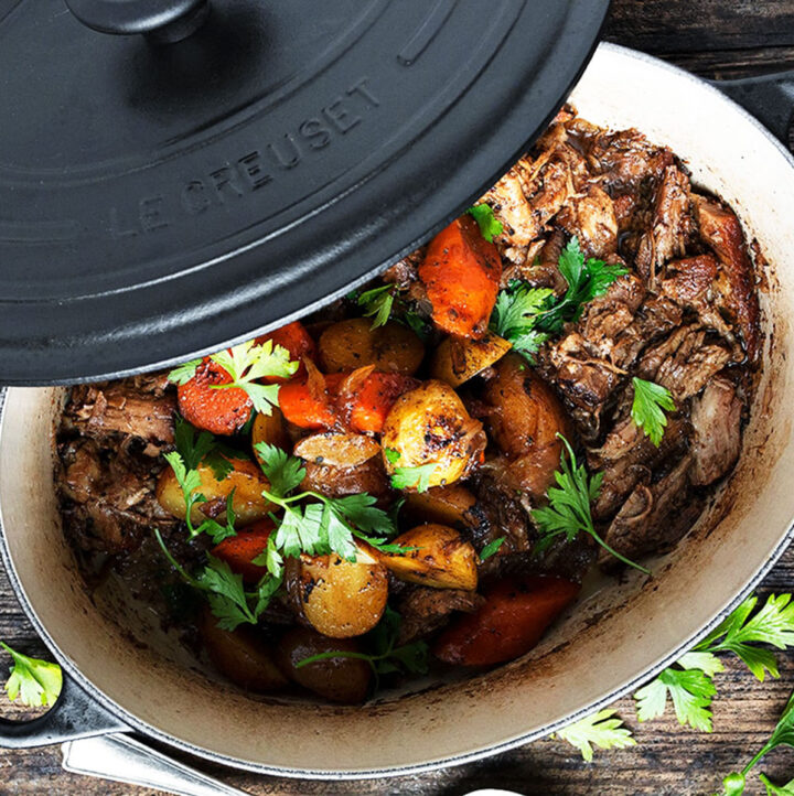 marsala braised pork in pot with carrots and potatoes