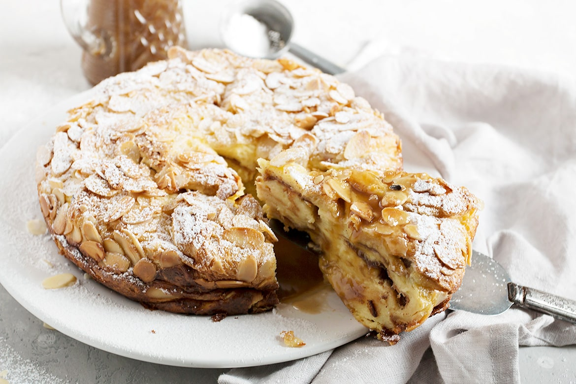 Almond Bread Pudding With Salted Caramel Sauce Seasons And Suppers