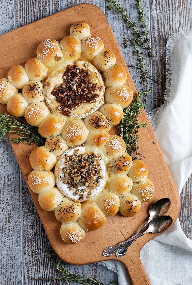 Baked Brie and Camembert with Warm Bread Bites